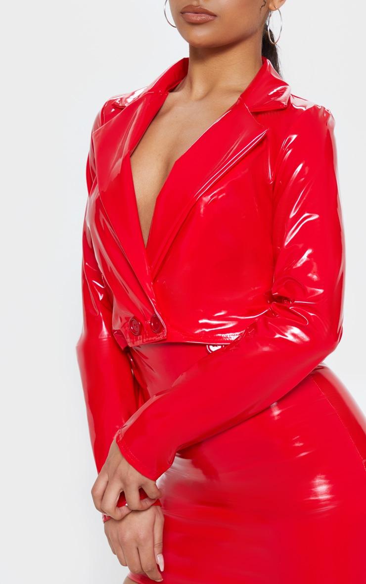 Red Vinyl Crop Long Sleeve Jacket 5