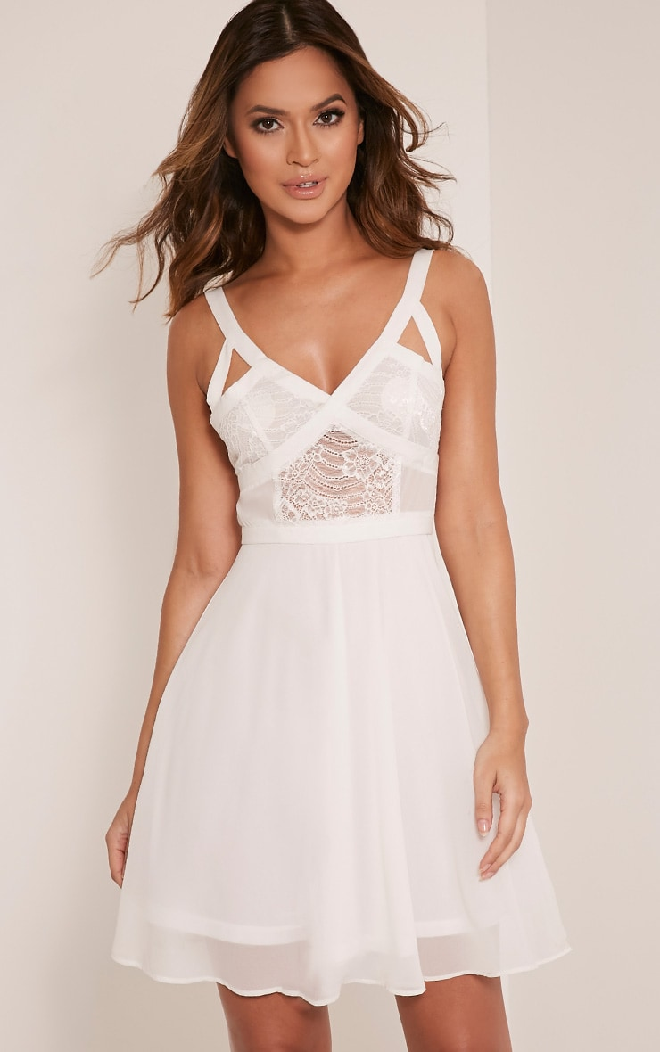 Abela White Lace Panel Skater Dress 1