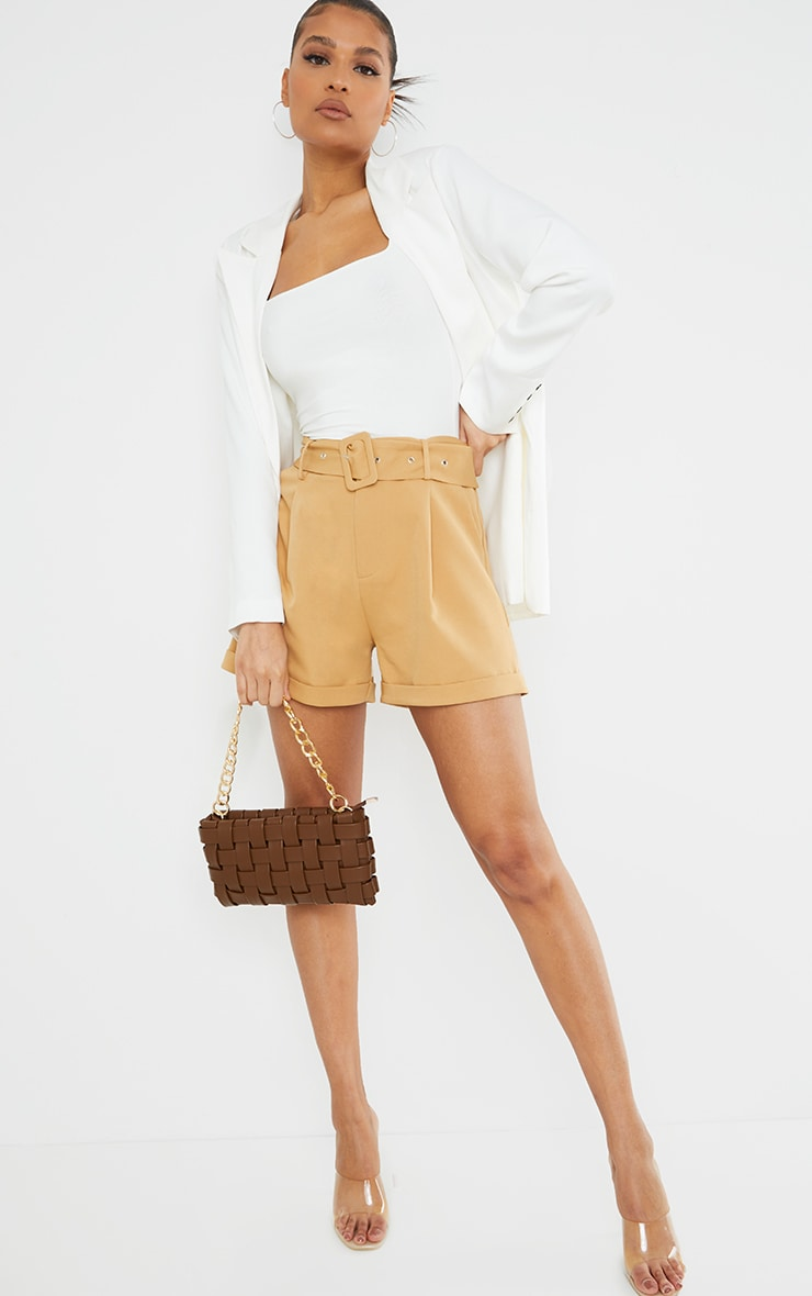 Stone Woven Belted Tailored Short 4