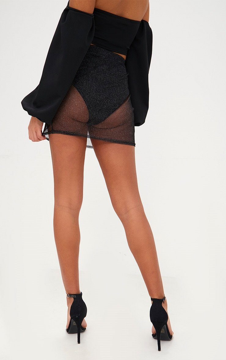Black Metallic Mesh Mini Skirt 4