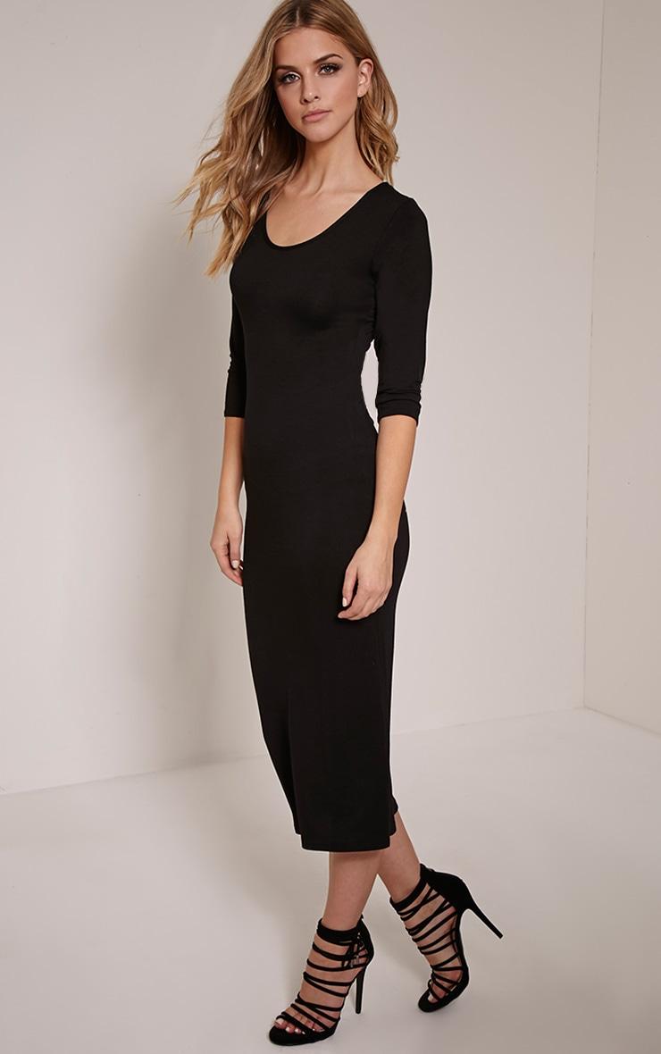 Basic Black 3/4 Sleeve Midi Dress 3