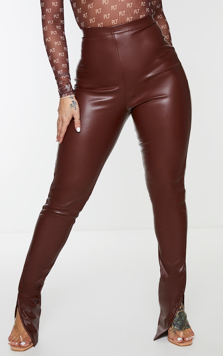 Shape Chocolate Brown PU Split Hem Trousers 2
