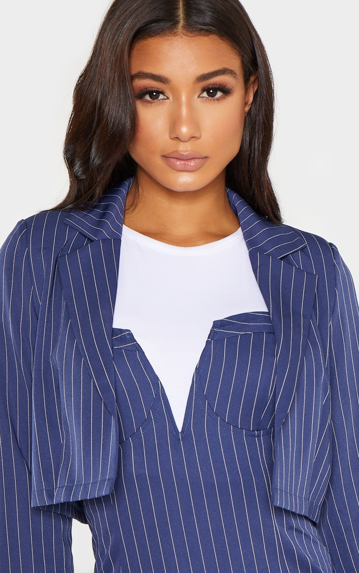 Navy Pinstripe Cropped Woven Blazer 5