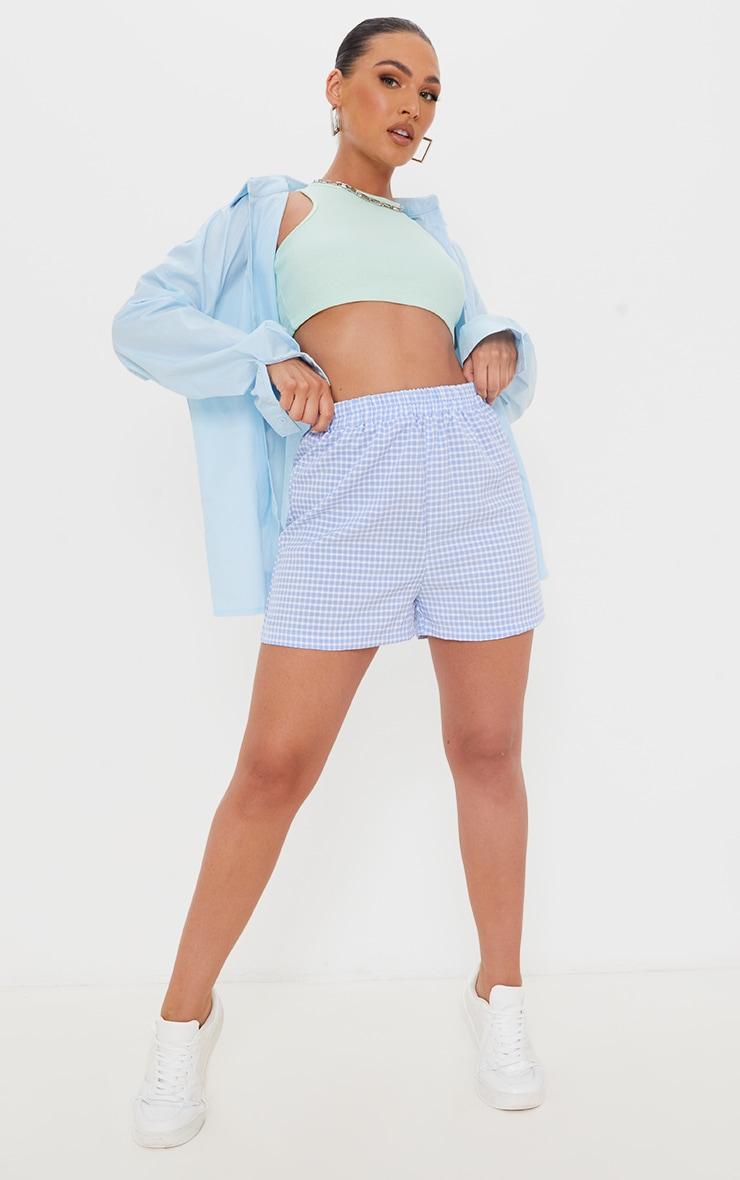 Blue Gingham Woven Contrast Pocket Runner Shorts 4