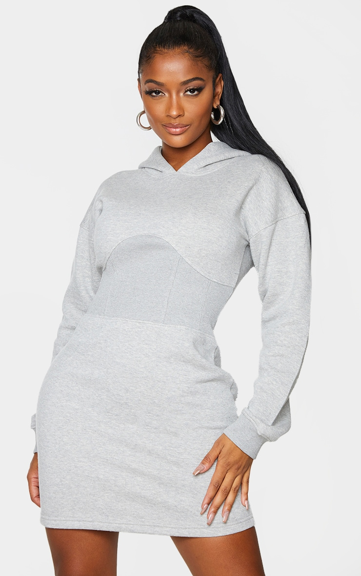 Shape Grey Corset Detail Sweatshirt Dress 3