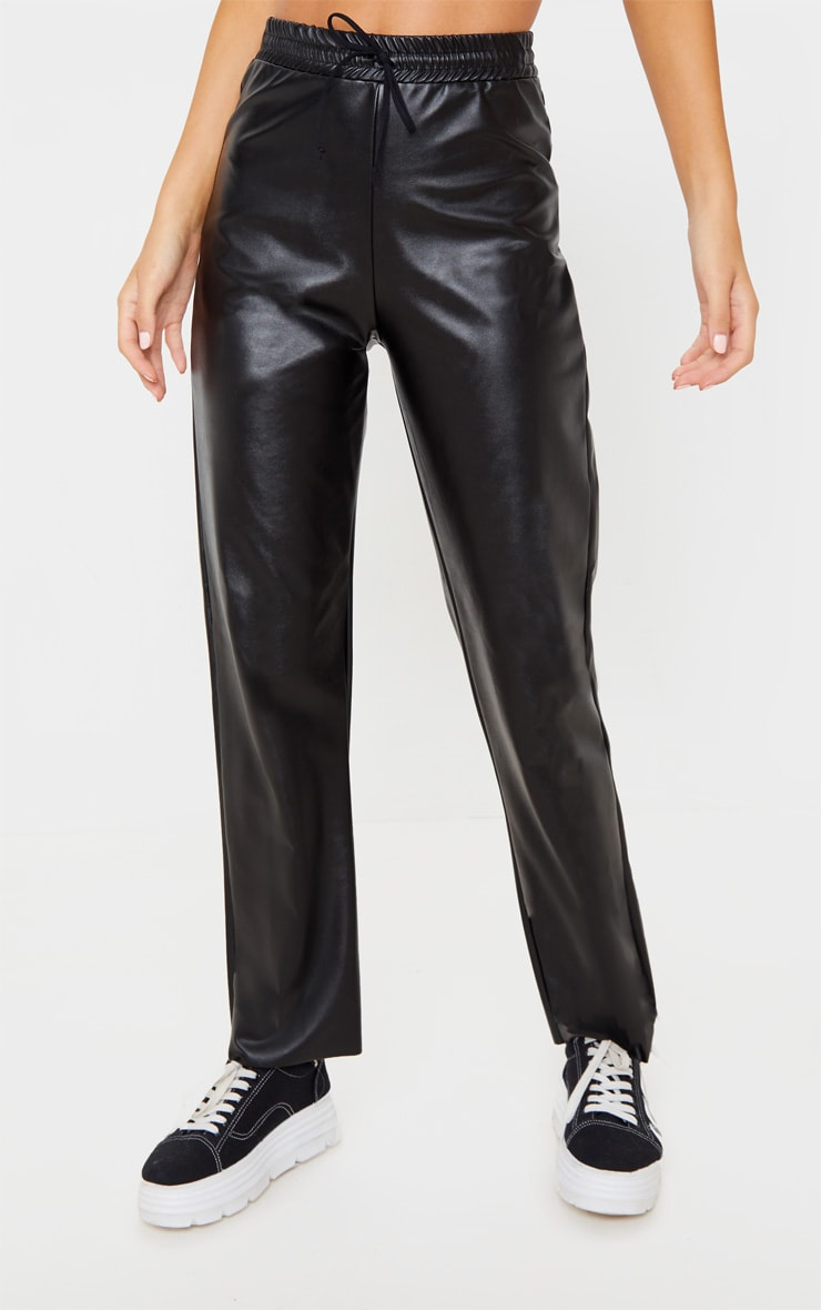 Black Faux Leather Joggers 2