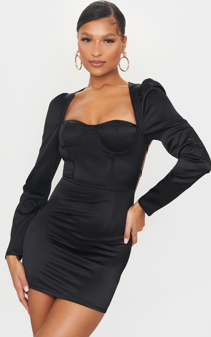 Black Long Sleeve Corset Detail Tie Back Bodycon Dress 1