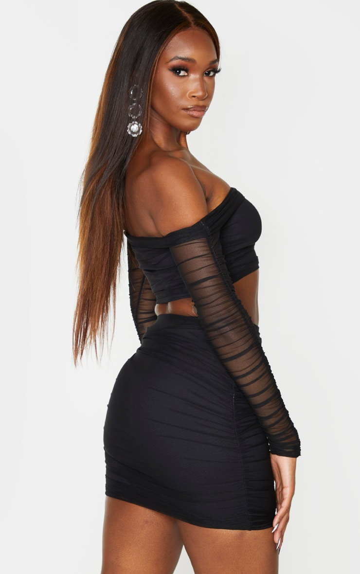 Black Mesh Bardot Ruched Sleeve Crop Top 2
