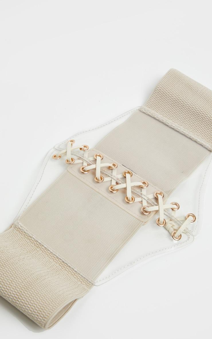 Nude Lace Up Clear PU Corset Belt 2