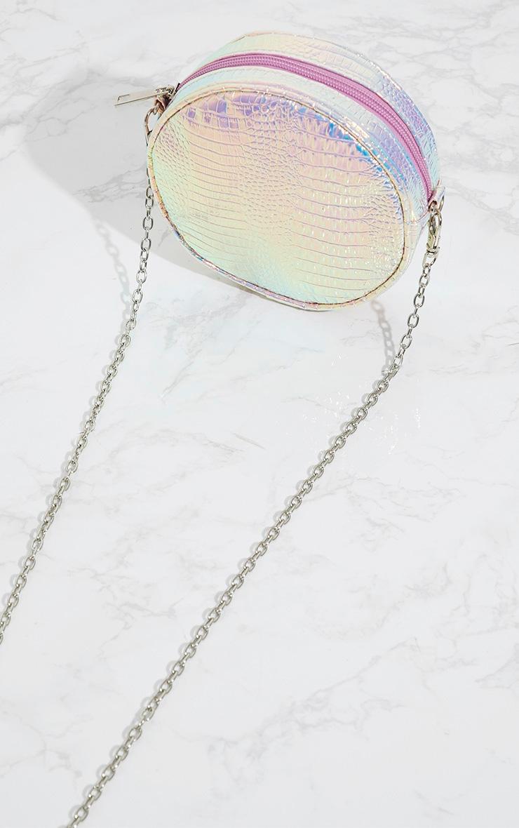 Purple Iridescent Round Croc Chain Bag