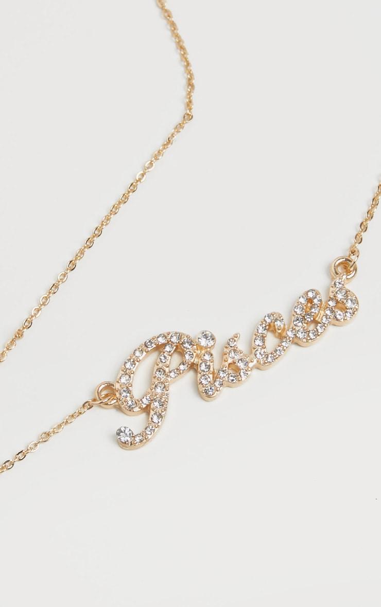 Gold Diamante Pisces Star Sign Necklace 3