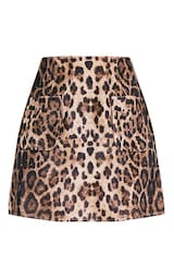 e4b42cf35 Julissa Camel Leopard Print Textured A-Line Mini Skirt image 3
