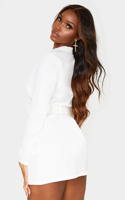 White Long Sleeve Ruched Belt Blazer Dress