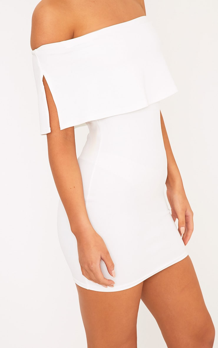 Carley White Bardot Frill Bodycon Dress 5