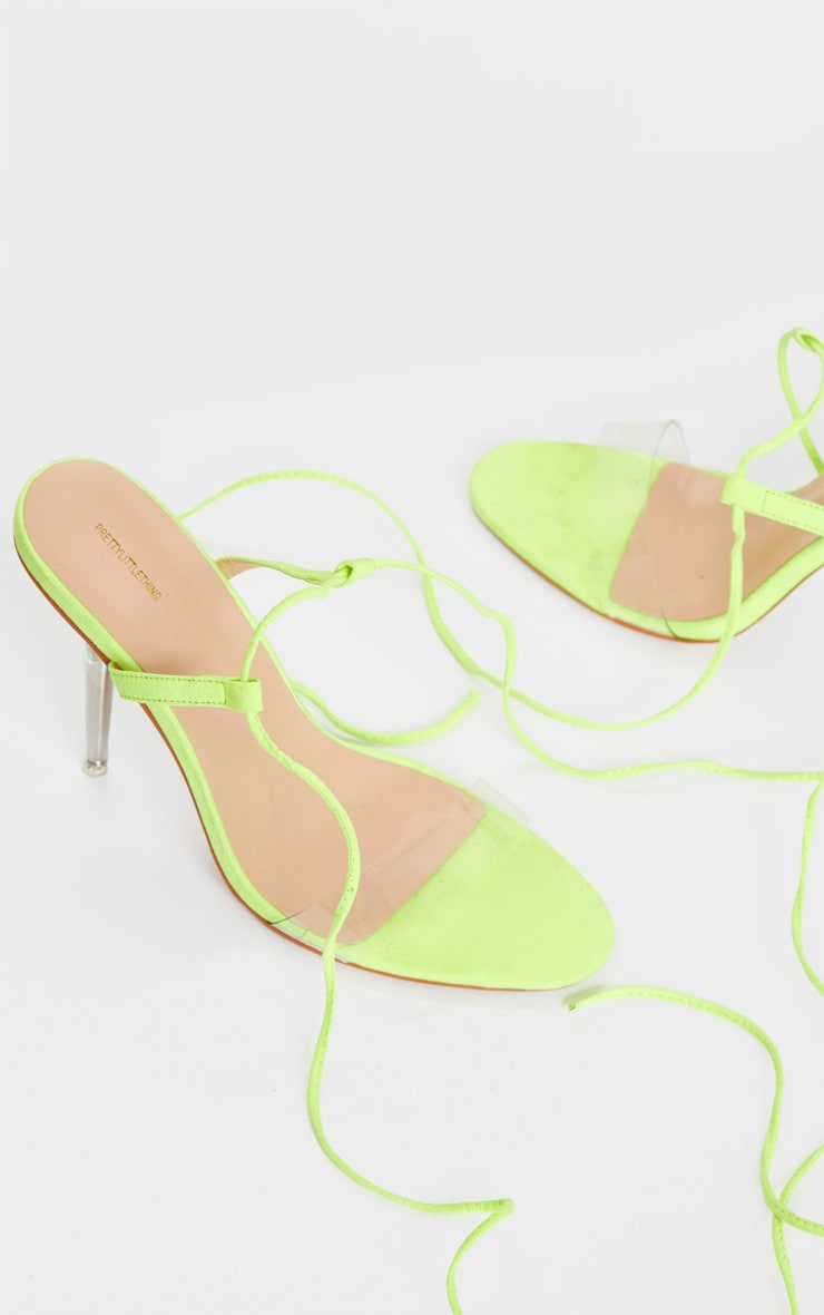 Lime Wide Fit Clear Heel Strap Ankle Tie Sandals 3