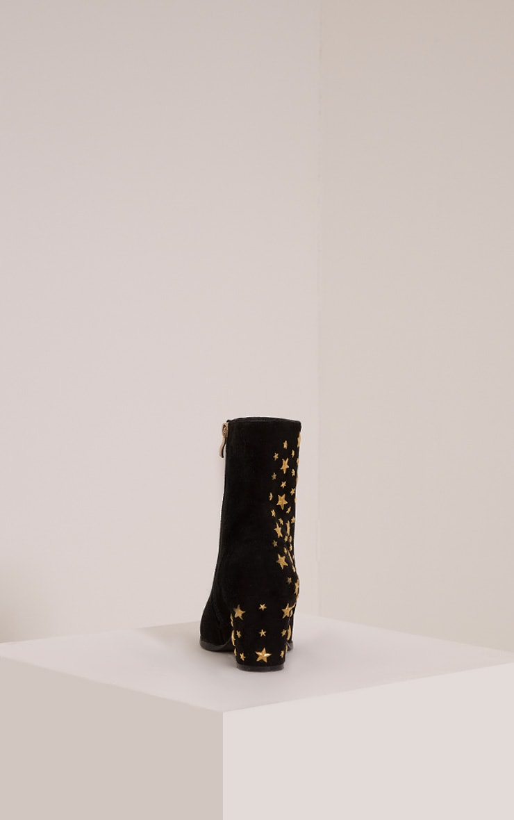 Arrabella Black Faux Suede Star Studded Ankle Boots 4
