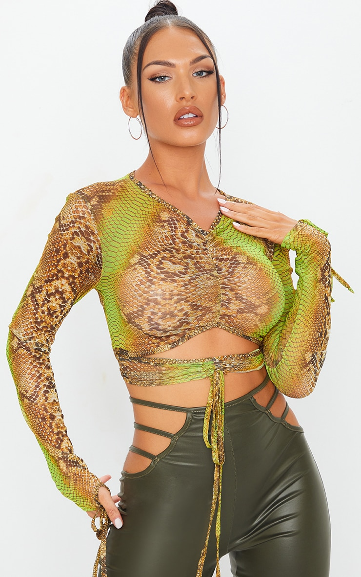 Green Mesh Snake Print Ruched Cut Out Top 1