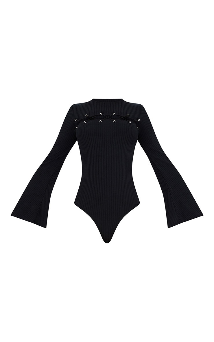 Black Lace Up Front Flare Sleeve Thong Bodysuit 3