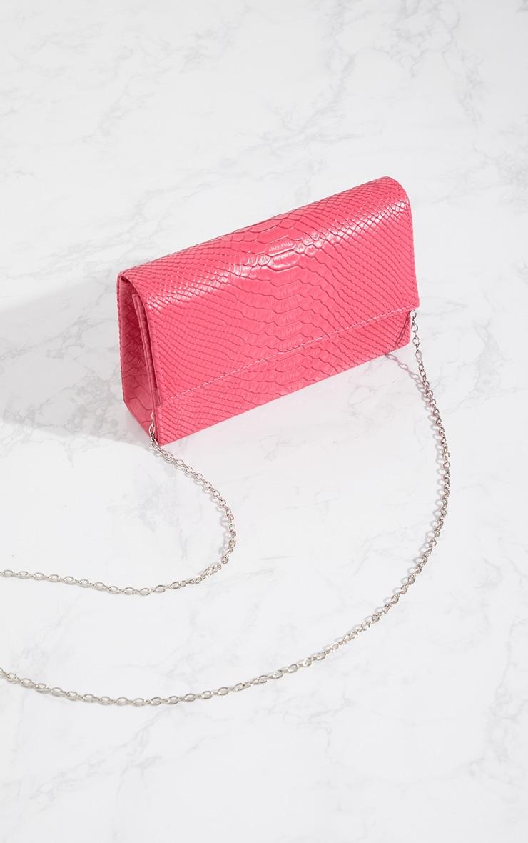 Bright Pink Croc Chain Strap Bag 3