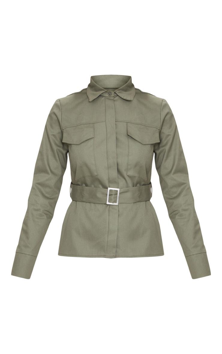 Khaki Military Buckle Pocket Detail Shirt  3