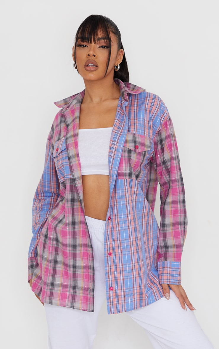Multi Pastel Check Oversized Spliced Shirt 1
