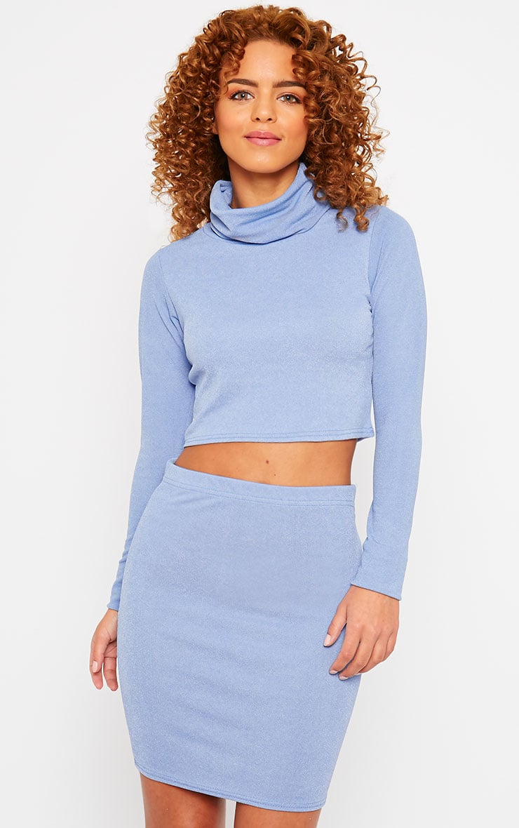 Emilia Blue Crepe Roll Neck Crop Top 1