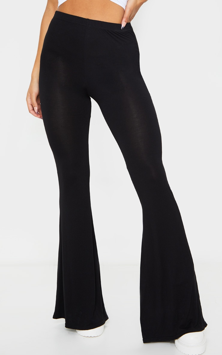 Basic Black Jersey Wide Leg Pants 3