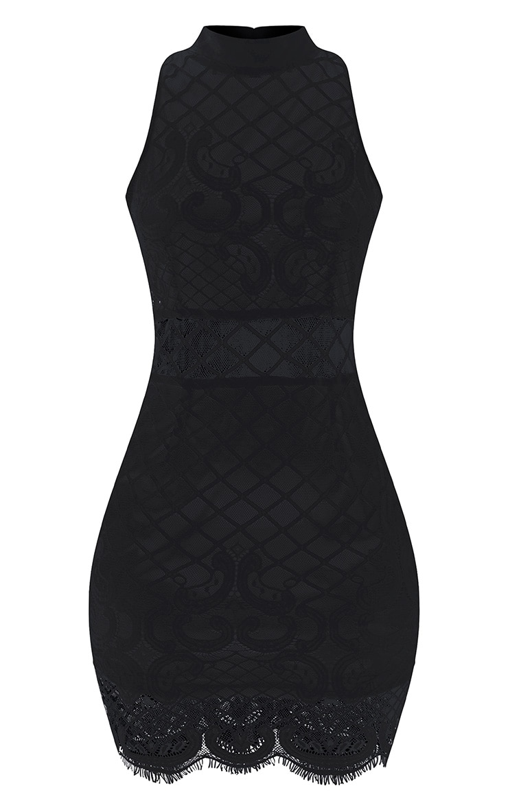 Aura Black Lace Up Back Bodycon Dress 3