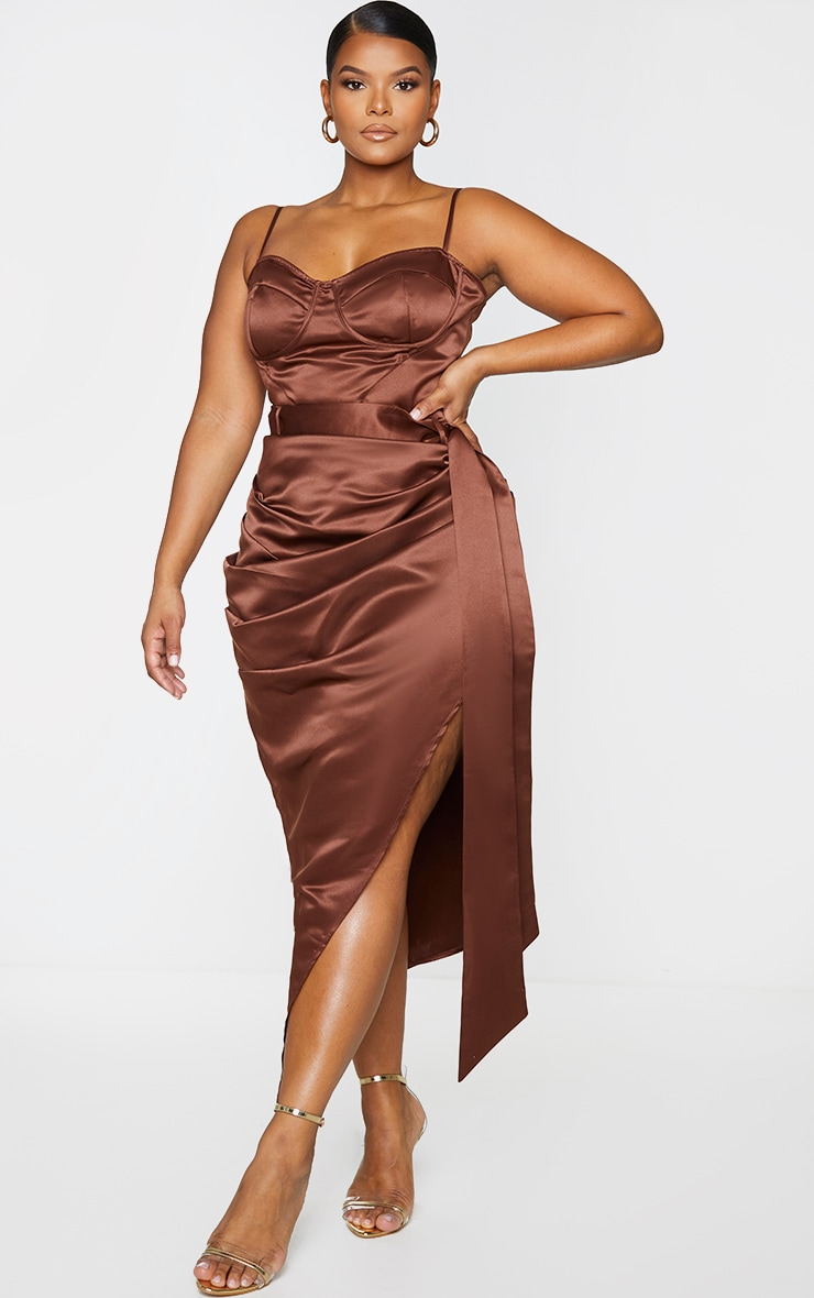 Plus Chocolate Brown Strappy Corset Top 3