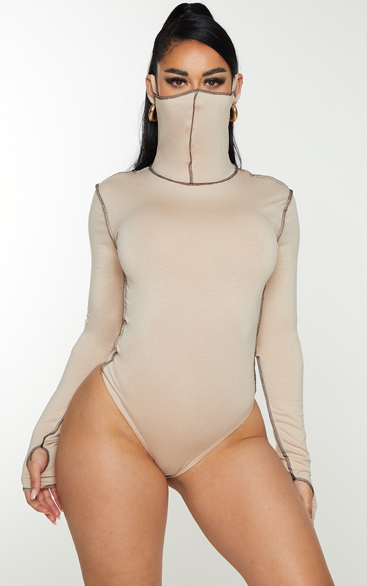 Shape Stone Jersey Contrast Stitch Thumb Hole Mask Bodysuit 2