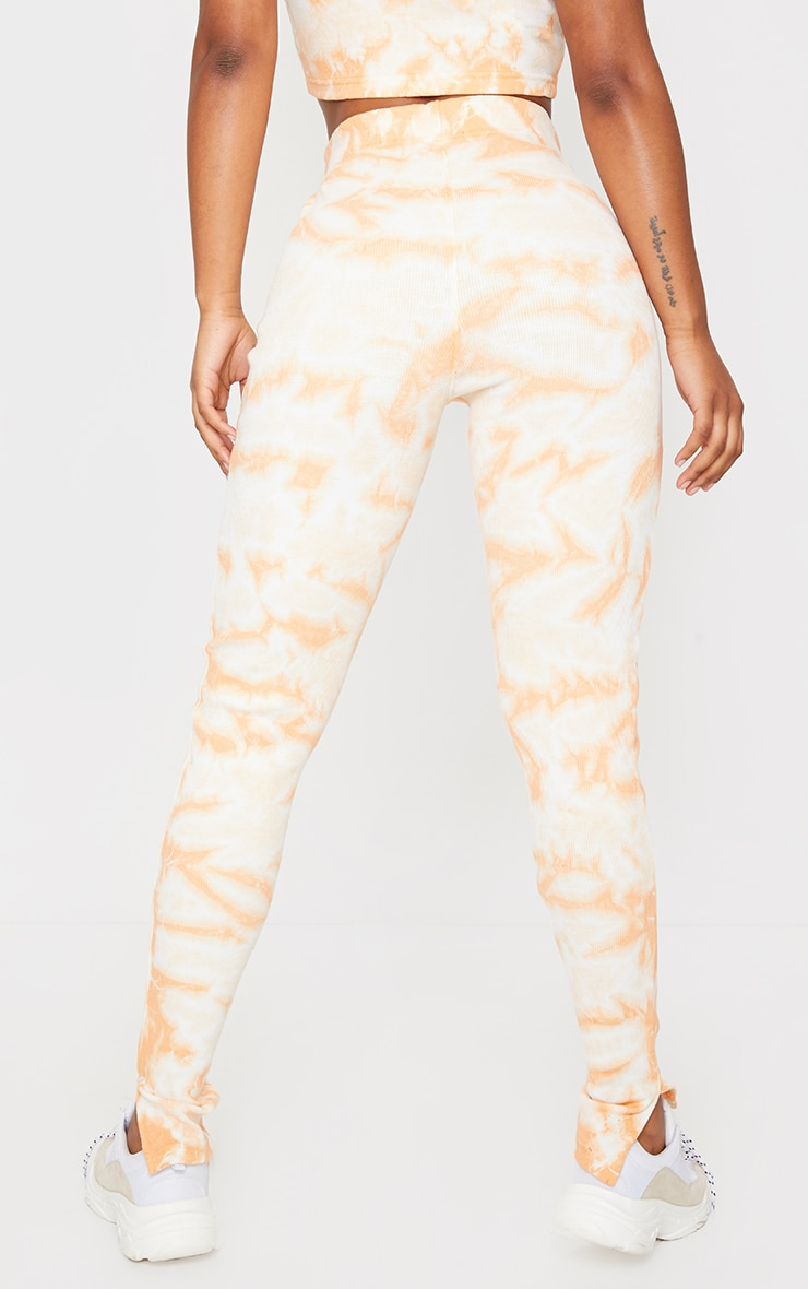 Orange Tie Dye Thick Rib High Waist Split Hem Trousers 3