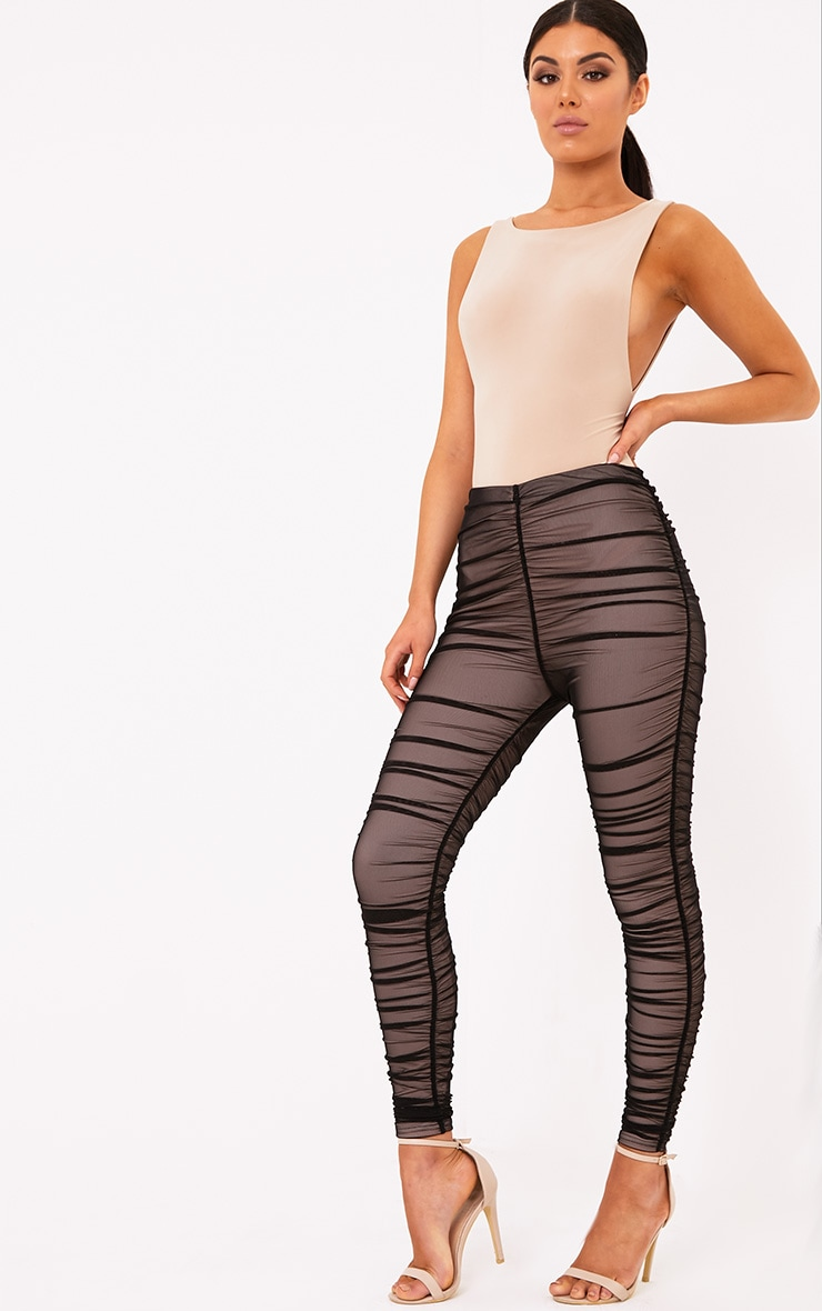 Piera Black Ruched Mesh Pants 2
