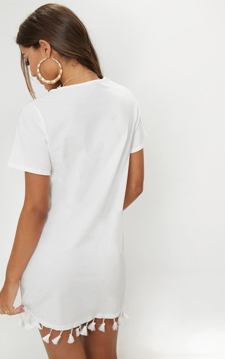 White Tassel Trim T Shirt Dress 2