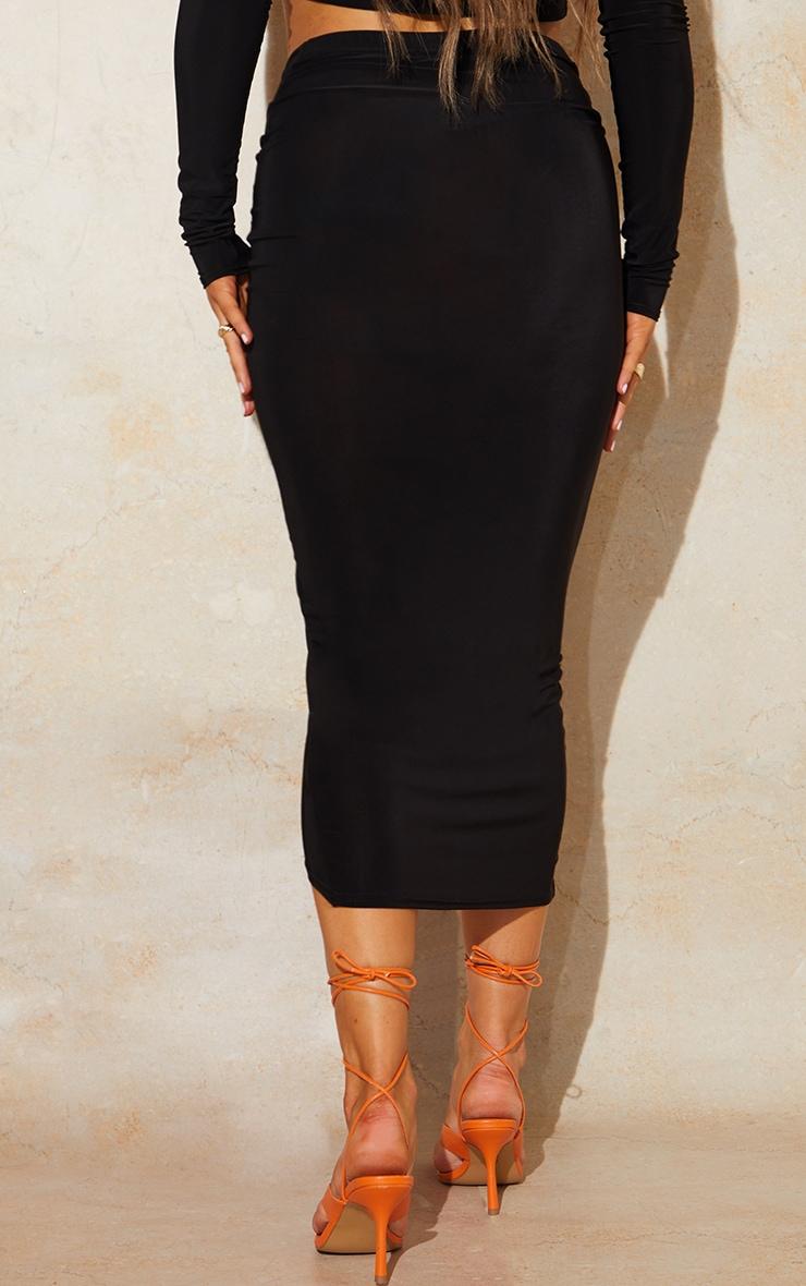 Black Slinky Wrap Round Midaxi Skirt 3