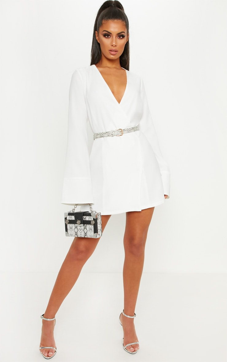 White Plunge Flare Sleeve Blazer Dress 4