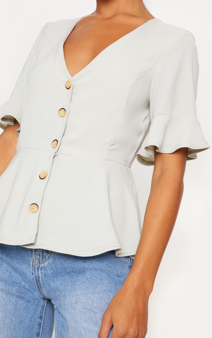 Sage Button Down Peplum Blouse 5