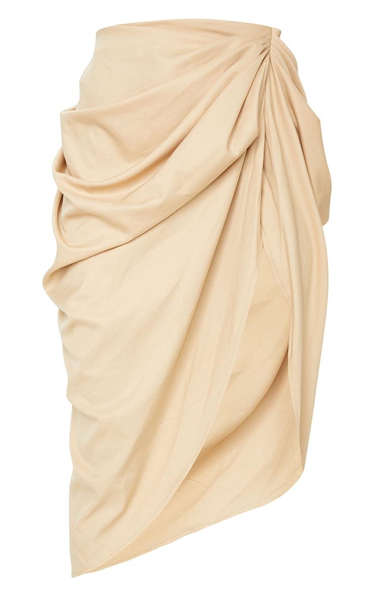 Beige Ruched Side Midi Skirt 5