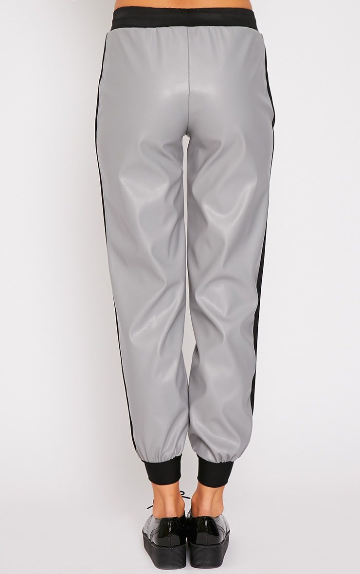 Carmen Grey Faux Leather Joggers 2