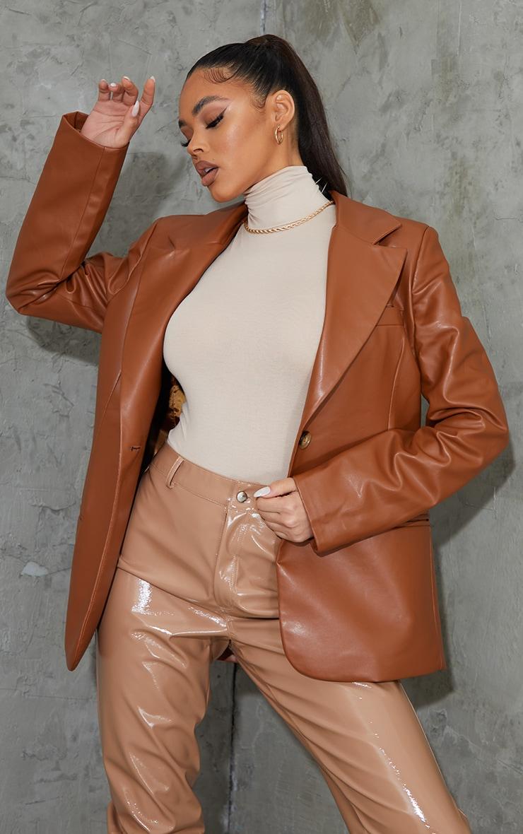 Toffee Faux Leather Blazer 2