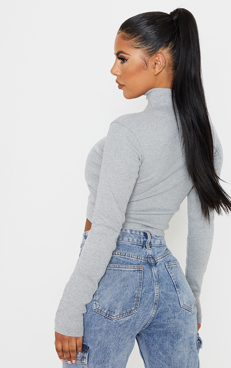 Grey Jumbo Rib Zip Up High Neck Top 2