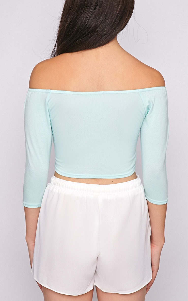 Joy Mint Bardot Crop Top  2