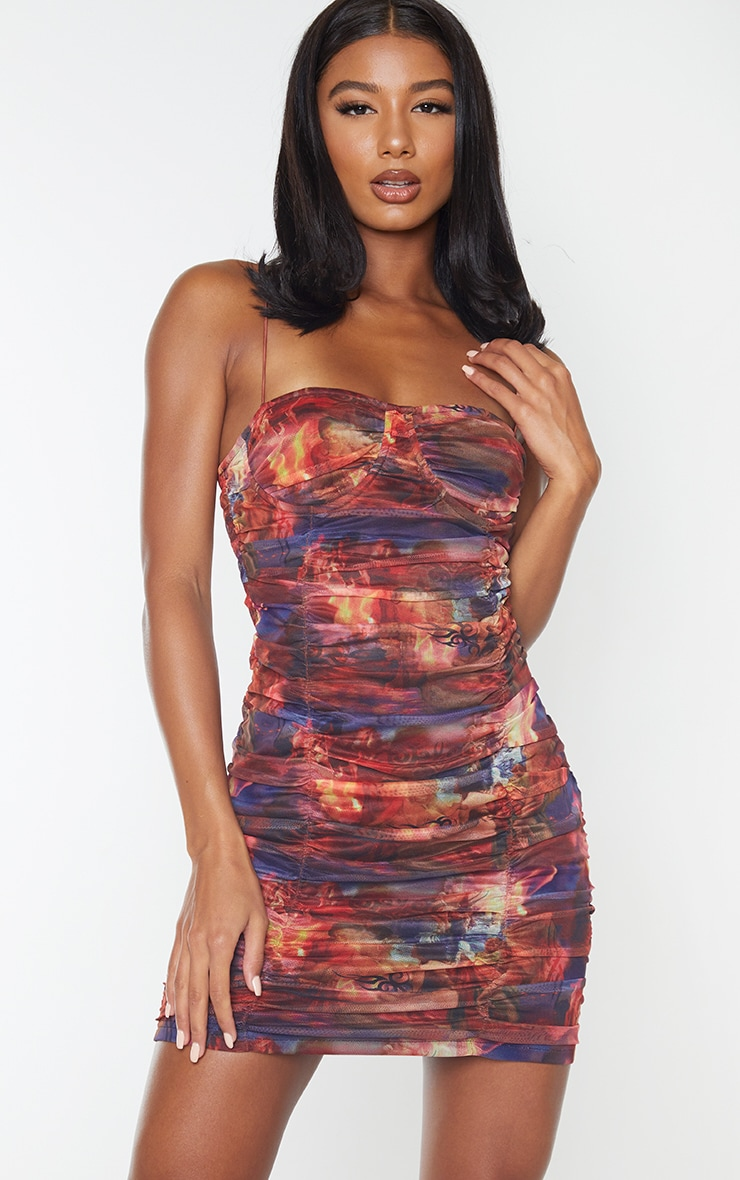 Multi Print Mesh Cup Detail Ruched Bodycon Dress 1