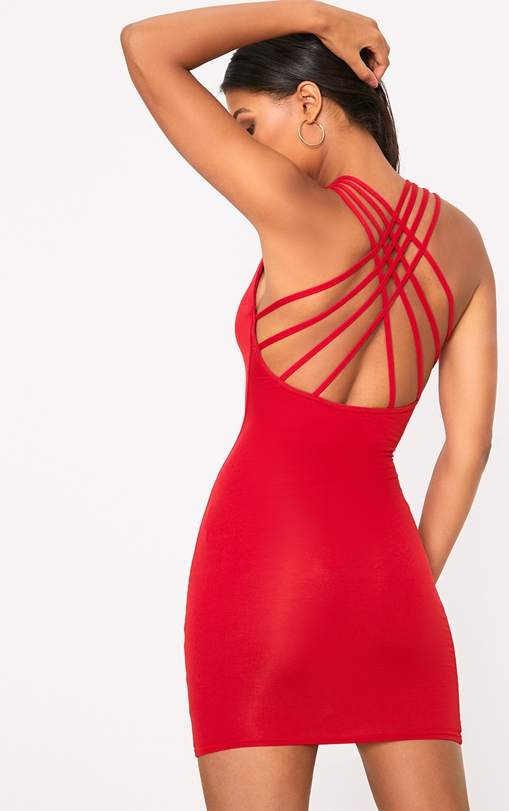 Red Strappy Back Bodycon Dress 1