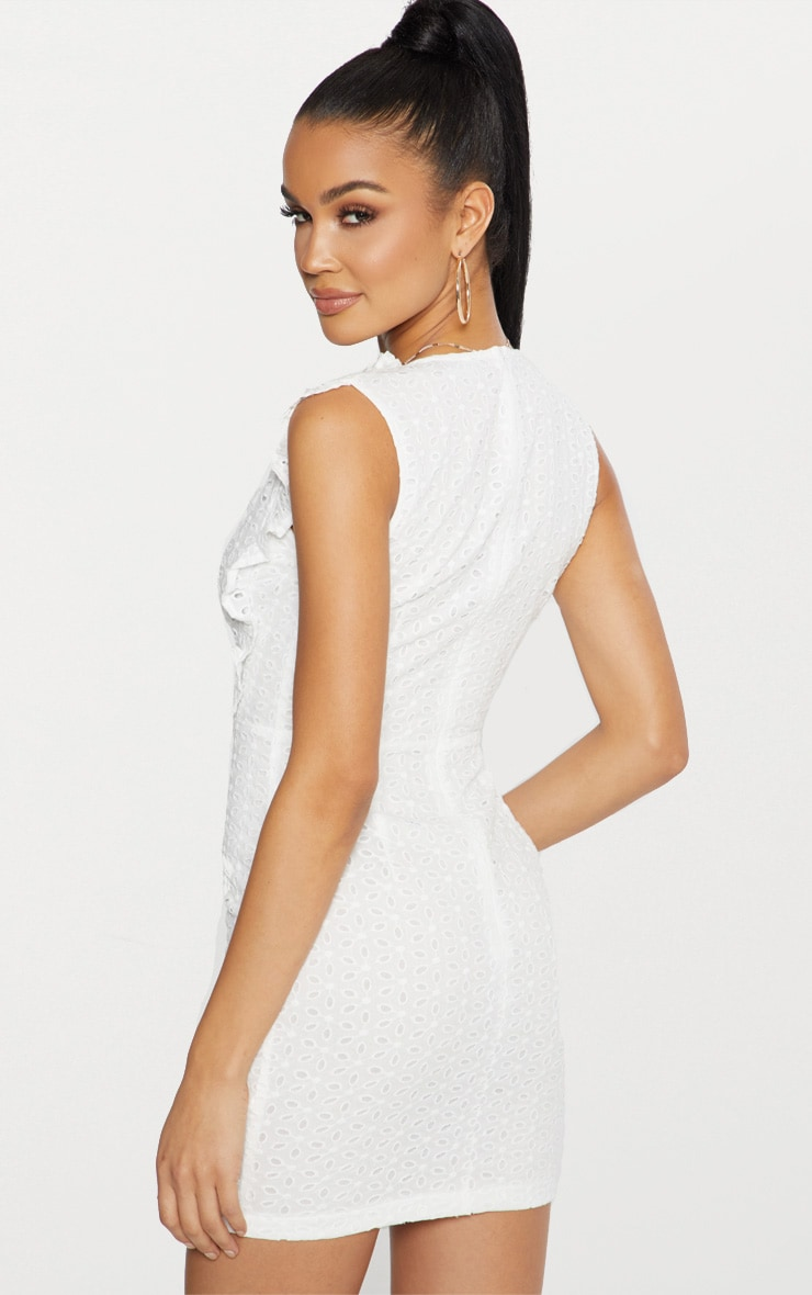 White Broderie Anglaise Ruffle Detail Plunge Bodycon Dress Pretty Little Thing T5Qzsa