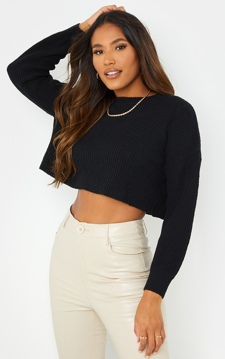 Black Basic Crew Neck Crop Sweater 1