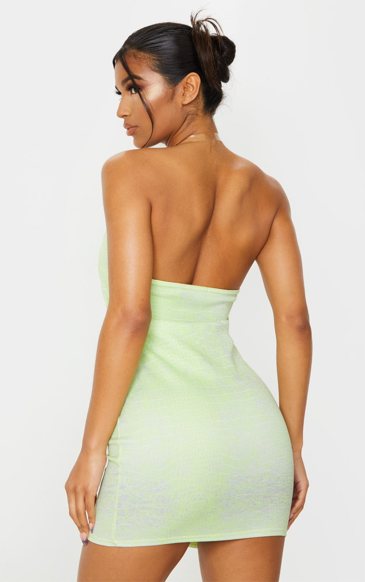 Lime Croc Print Binded Detail Clear Strap Bodycon Dress 2