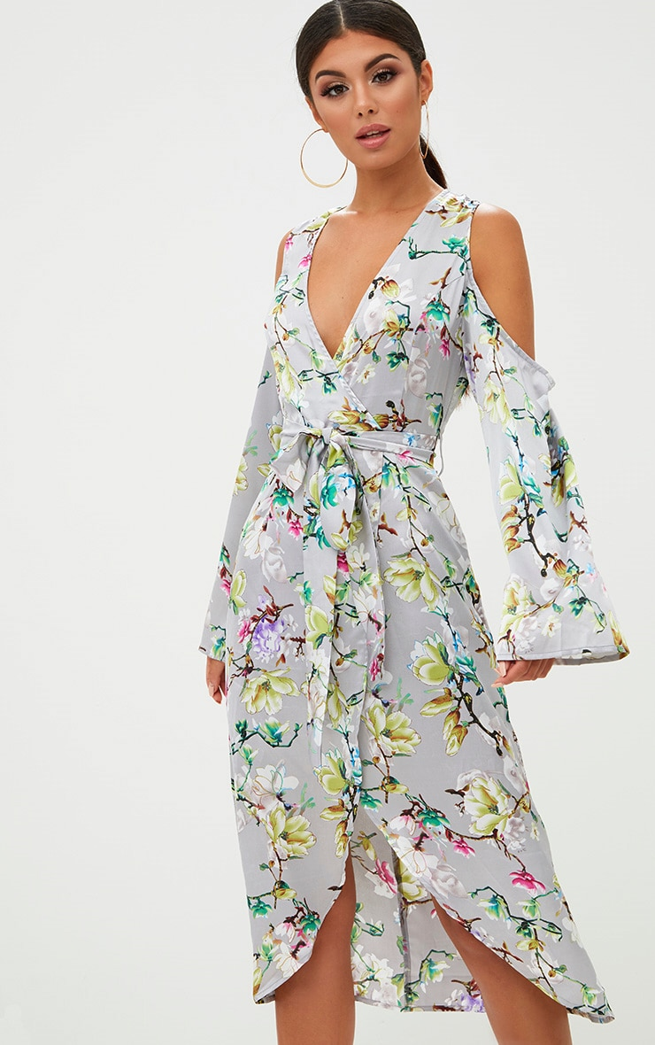 Grey Floral Satin Midi Dress 1