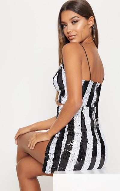 Monochrome Stripe Sequin Strappy Plunge Extreme Split Bodycon Dress
