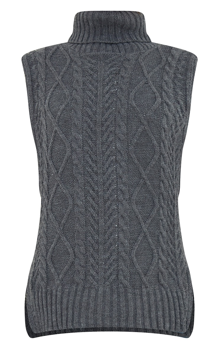 Charcoal Longline Sleeveless Cable Roll Neck Jumper 5