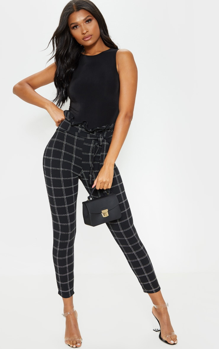 Black Tweed Check Paperbag Skinny Pants 1